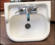 Vintage bathroom sink from 1955 Airstream Flying Cloud