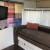 custom handmade curtains/apple tv w/ flatscreen